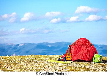 färgrik, tält, camping, in, fjäll., crimea