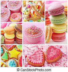 färgrik, tårtor, collage