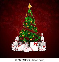 färgrik, träd, rutor, agremanger, julklapp, 3