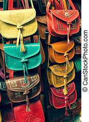 färgrik, tunis, handväskor, kollektion, läder, marknaden