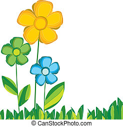 färgrik, vår blommar, ., vektor