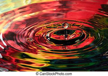 färgrik, vatten droppe