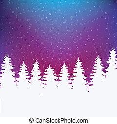färgrik, vinter, bakgrund, snöig