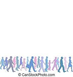 färgs folk, grupp, gå, följa efter, riktning, ledare