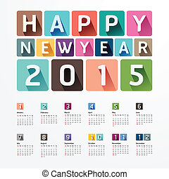 färsk, 2015, skapande, lycklig, year., kalender, /, design.