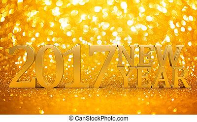 färsk, 2017, glitter, bakgrund, år