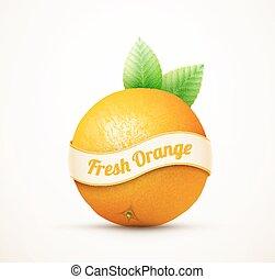 färsk apelsin, frukt, med, grönt lämnar