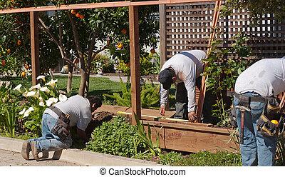 färsk, arbetare, eregerande, staket