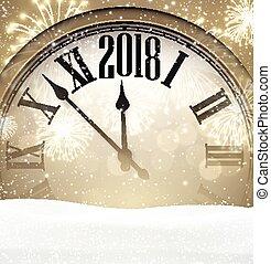 färsk, bakgrund, 2018, clock., år