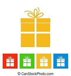 färsk, box., år, gåva, ikon