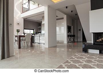 färsk, design, två storey, villa