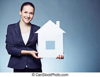 färsk, erbjudande, hus
