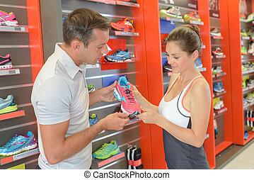 färsk, fitness, skor