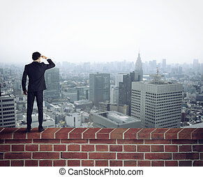 färsk, framtid, ser, tillfällen, affärsman