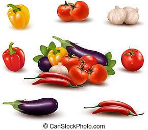 färsk grönsak, med, bladen