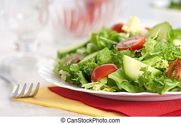 färsk grönsak, sallad, och, gaffel