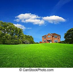 färsk, grönt landskap, hus