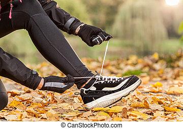 färsk, joggning, skor