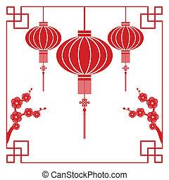 färsk, kinesisk, hälsningskort, år