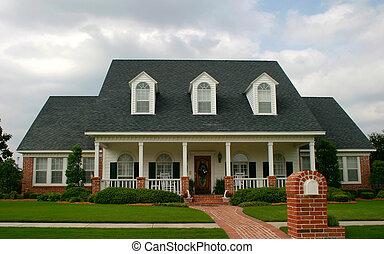 färsk, klassisk, stil, hus