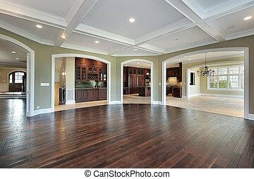 färsk, konstruktion, rum, släkt hemma