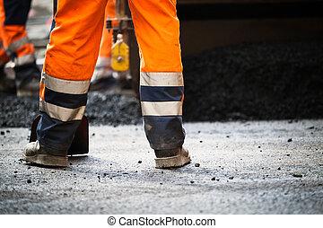 färsk, konstruktion, väg, asfalt