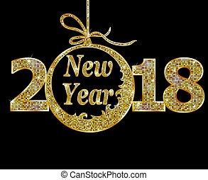 färsk, lycklig, 2018, år