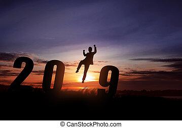 färsk, lycklig, 2019, år