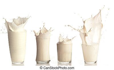 färsk mjölk, plaska, på, a, glas, vita, bakgrund, kollektion