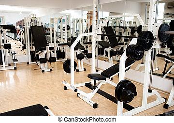 färsk, nymodig, gymnastiksal, och, lämplighet klubb, med, sport, utrustning