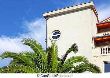färsk, palm, grönt logera