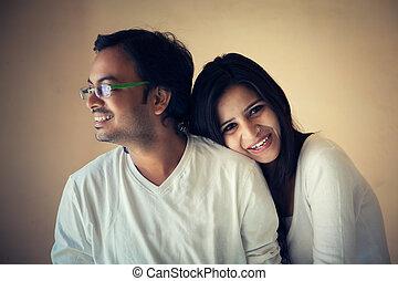 färsk, par, indisk, ögonblick, lycklig