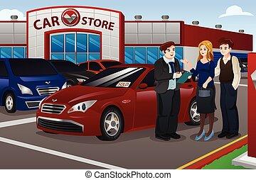 färsk, par, köpande bil