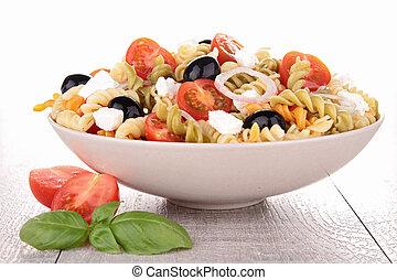 färsk pasta, sallad