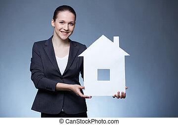 färsk, presenterande, hus