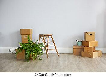 färsk, rutor, lägenhet, tom, papp