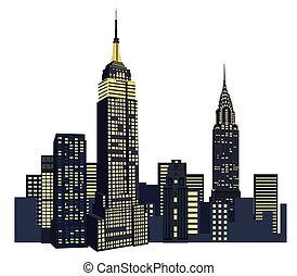 färsk, skyskrapor, york