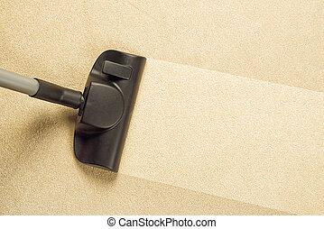 färsk, tomrum, rensning, matta
