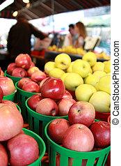 färska äpplen, hos, den, marknaden