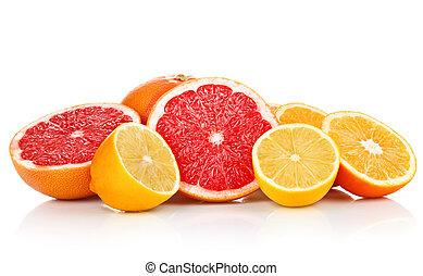 färska frukter, apelsin, citron, grapefrukt, in, snitt