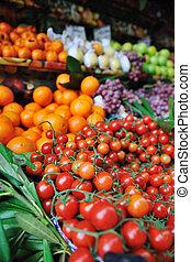 färska frukter och grönsaker, hos, marknaden