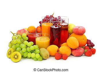 färska frukter, och, juice