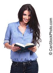 fästen, bok, kvinna, öppnat, tillfällig