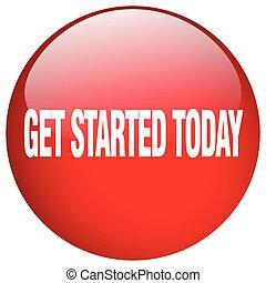 få, started, knapp, isolerat, röd, trycka, runda, i dag, gel