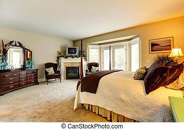 fåfänga, sovrum, eldstad, lyxvara, kabinett