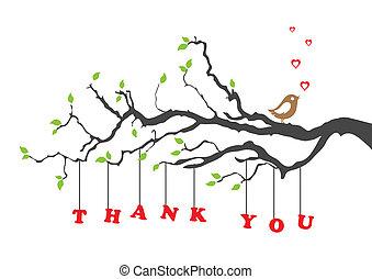 fågel, dig, tacka, kort, hälsning