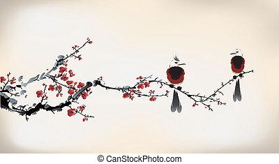 fågel, målning