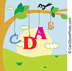 fågel, perching, på, filial, och, alfabet, hängande,...