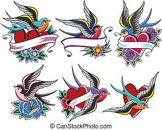 fågel, tatuera