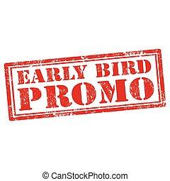fågel, tidigt, promo-stamp